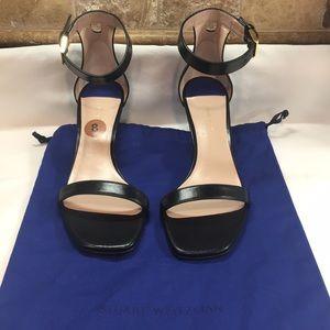 New Stuart Weitzman Black Leather Nudist Sandals